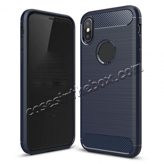 wholesale TPU Carbon Fiber Scratch Resilient Shock Absorption Protective Silicone Case for iPhone X - Navy