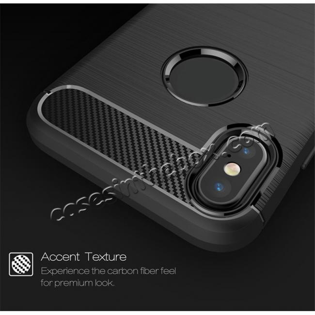cheap TPU Carbon Fiber Scratch Resilient Shock Absorption Protective Silicone Case for iPhone X - Navy