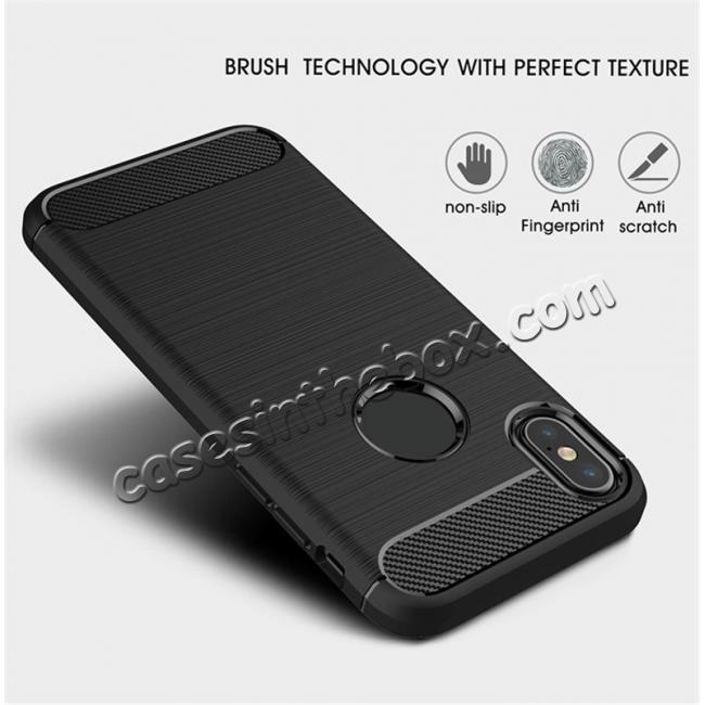 discount TPU Carbon Fiber Scratch Resilient Shock Absorption Protective Silicone Case for iPhone X - Red