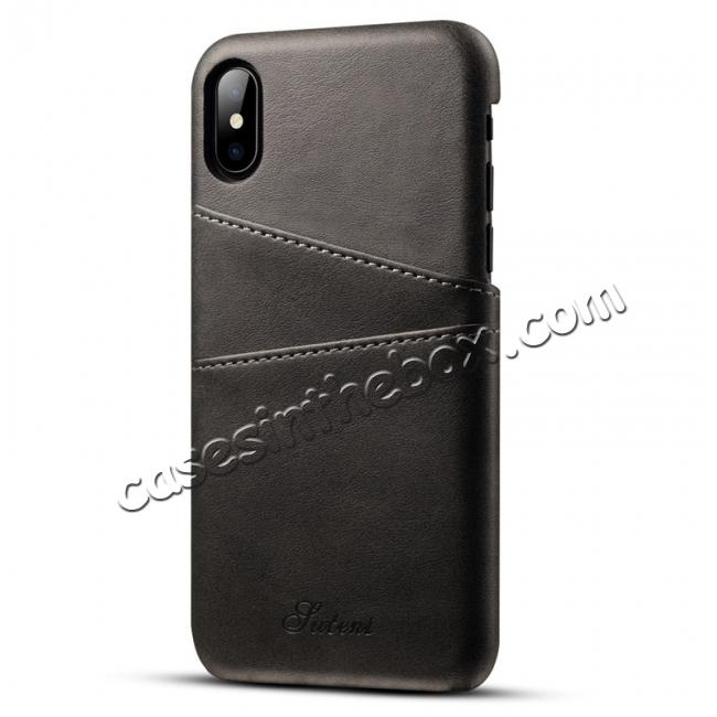 wholesale Ultra thin Leather Back Case Slim Card Slot Cover for iPhone X - Black