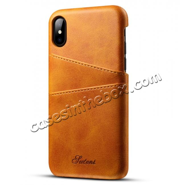 wholesale Ultra thin Leather Back Case Slim Card Slot Cover for iPhone X - Brown