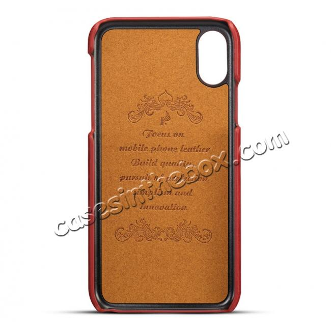discount Ultra thin Leather Back Case Slim Card Slot Cover for iPhone X - Brown