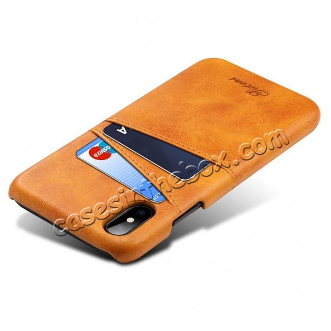 cheap Ultra thin Leather Back Case Slim Card Slot Cover for iPhone X - Brown