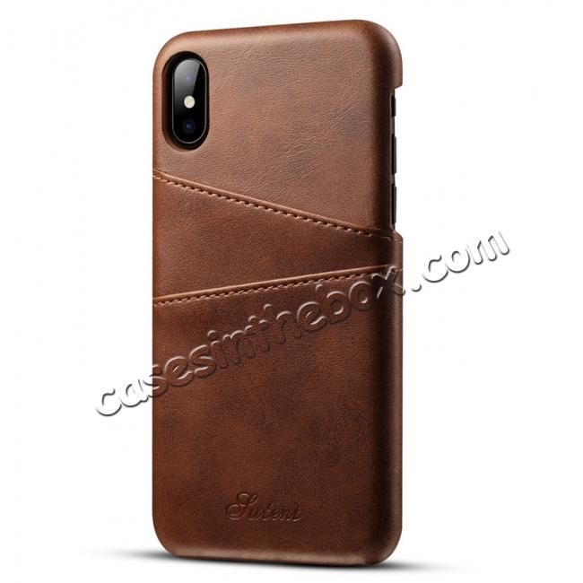 wholesale Ultra thin Leather Back Case Slim Card Slot Cover for iPhone X - Coffee