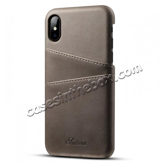 wholesale Ultra thin Leather Back Case Slim Card Slot Cover for iPhone X - Grey
