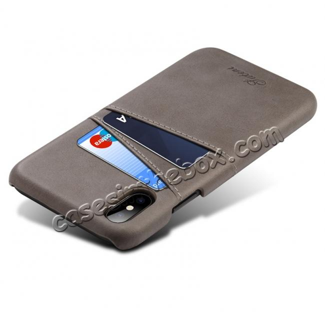 cheap Ultra thin Leather Back Case Slim Card Slot Cover for iPhone X - Grey