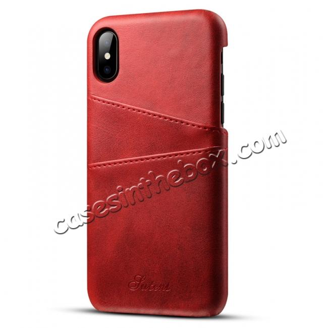 wholesale Ultra thin Leather Back Case Slim Card Slot Cover for iPhone X - Red