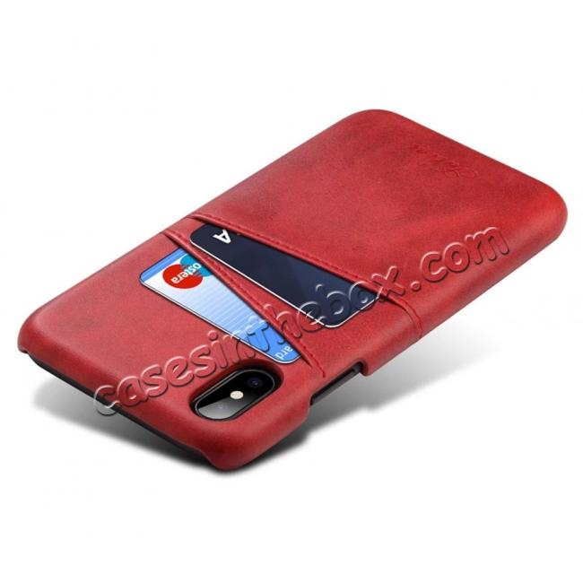 cheap Ultra thin Leather Back Case Slim Card Slot Cover for iPhone X - Red