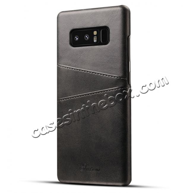 wholesale Wallet Credit Card Slots Leather Case Back Cover Skin for Samsung Galaxy Note 8 - Black