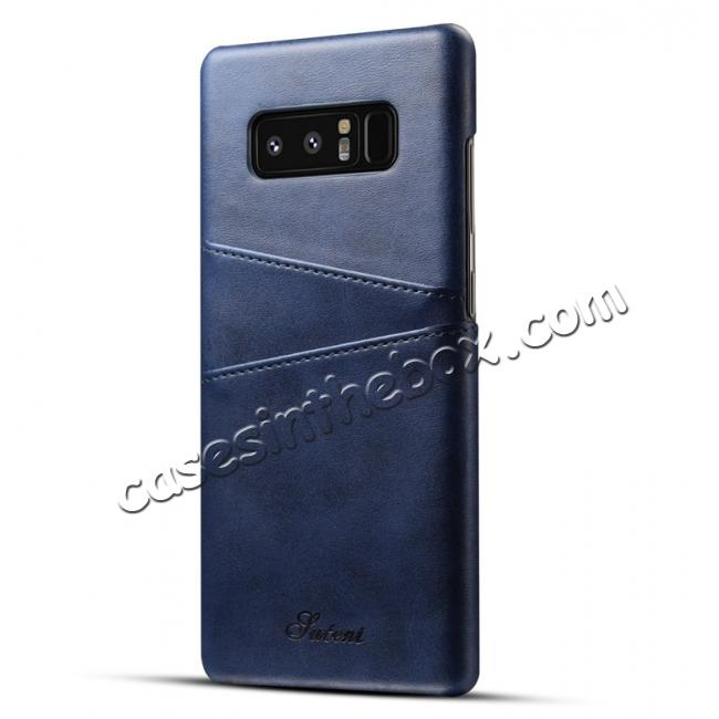 wholesale Wallet Credit Card Slots Leather Case Back Cover Skin for Samsung Galaxy Note 8 - Blue