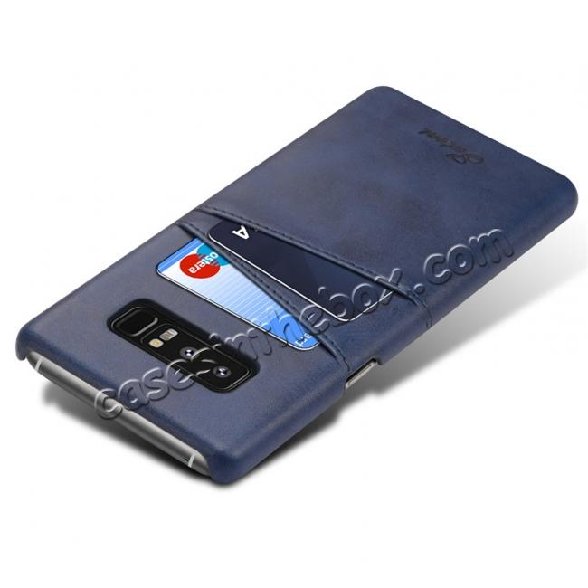 cheap Wallet Credit Card Slots Leather Case Back Cover Skin for Samsung Galaxy Note 8 - Blue