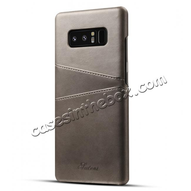 wholesale Wallet Credit Card Slots Leather Case Back Cover Skin for Samsung Galaxy Note 8 - Grey