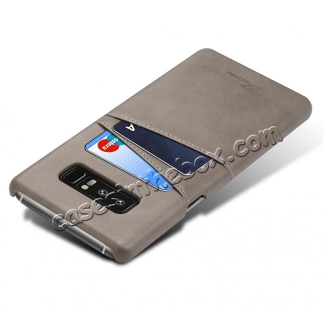 cheap Wallet Credit Card Slots Leather Case Back Cover Skin for Samsung Galaxy Note 8 - Grey