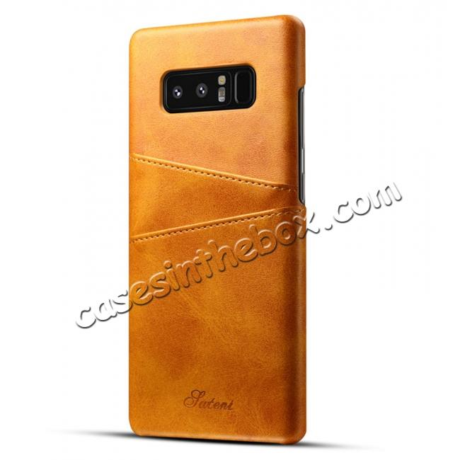 wholesale Wallet Credit Card Slots Leather Case Back Cover Skin for Samsung Galaxy Note 8 - Light Brown