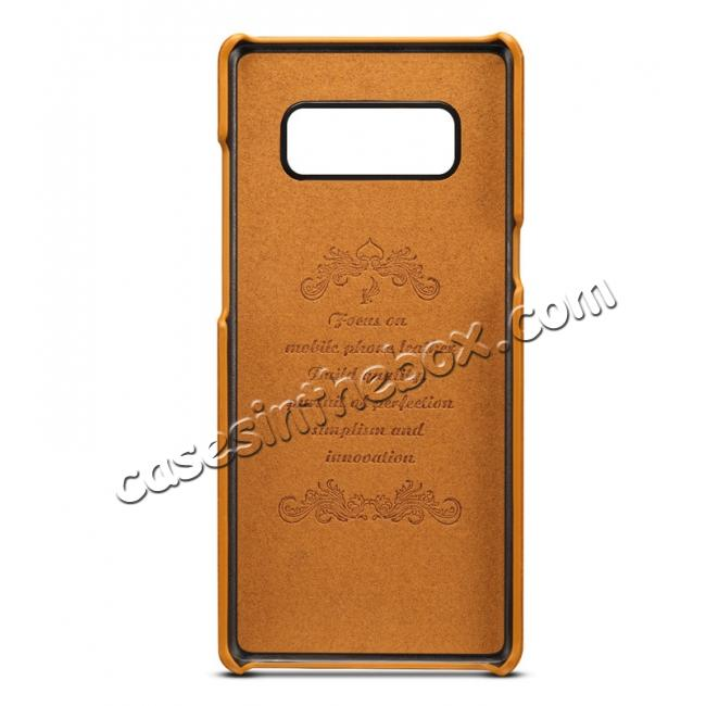 discount Wallet Credit Card Slots Leather Case Back Cover Skin for Samsung Galaxy Note 8 - Light Brown