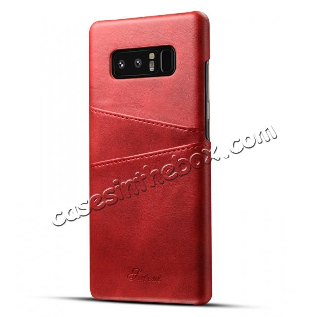 wholesale Wallet Credit Card Slots Leather Case Back Cover Skin for Samsung Galaxy Note 8 - Red