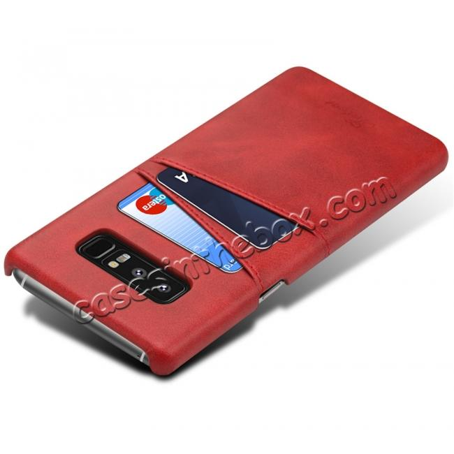 cheap Wallet Credit Card Slots Leather Case Back Cover Skin for Samsung Galaxy Note 8 - Red