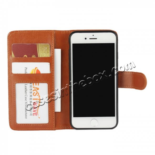 best price 2in1 Magnetic Removable Detachable Leather Wallet Cover Case For iPhone 8 Plus 5.5 inch - Brown
