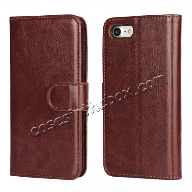 wholesale 2in1 Magnetic Removable Detachable Leather Wallet Cover Case For iPhone 8 Plus 5.5 inch - Dark Brown