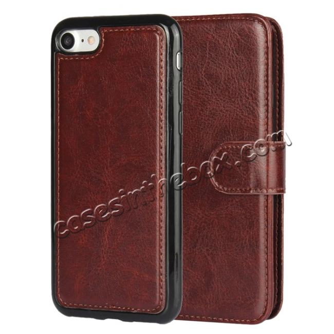 discount 2in1 Magnetic Removable Detachable Leather Wallet Cover Case For iPhone 8 Plus 5.5 inch - Dark Brown