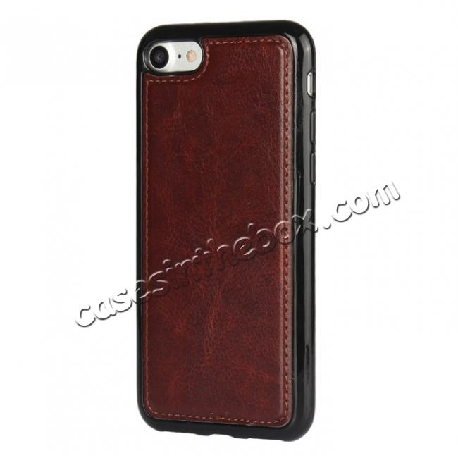 cheap 2in1 Magnetic Removable Detachable Leather Wallet Cover Case For iPhone 8 Plus 5.5 inch - Dark Brown