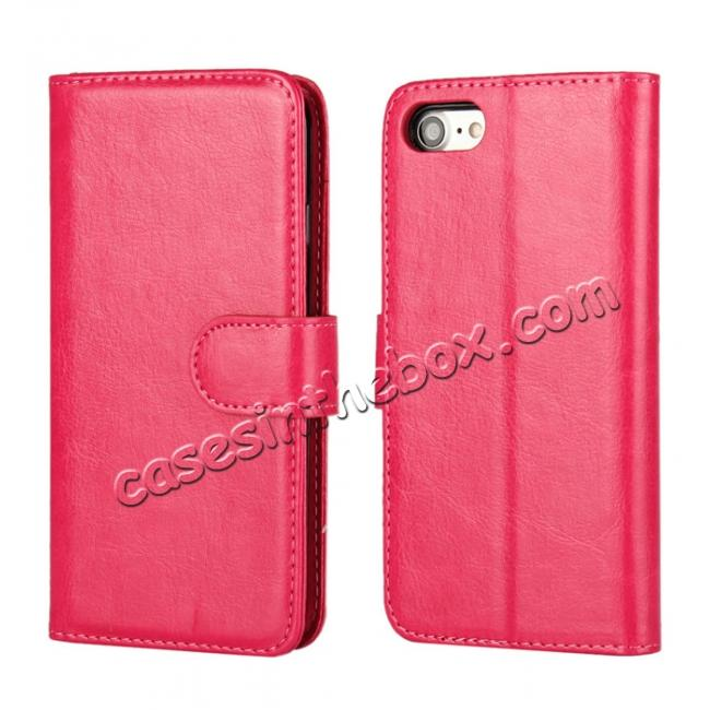 wholesale 2in1 Magnetic Removable Detachable Leather Wallet Cover Case For iPhone 8 Plus 5.5 inch - Rose