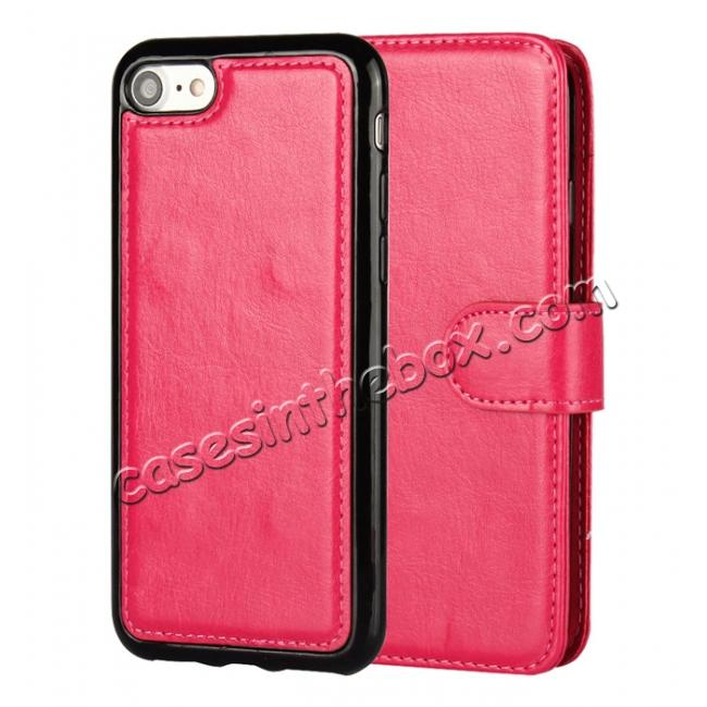 discount 2in1 Magnetic Removable Detachable Leather Wallet Cover Case For iPhone 8 Plus 5.5 inch - Rose