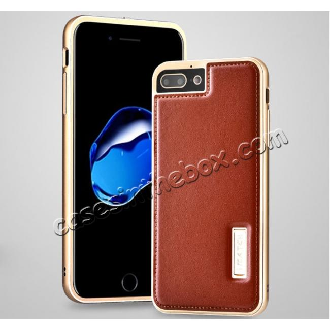 low price Aluminum Metal Bumper Frame+Genuine Leather Case Stand Cover For iPhone 8 4.7 inch - Gold&Brown
