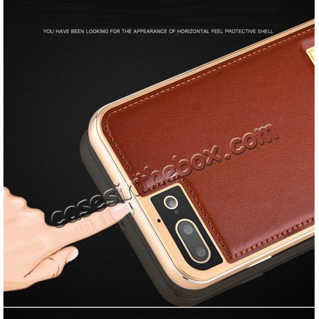 china wholesale Aluminum Metal Bumper Frame+Genuine Leather Case Stand Cover For iPhone 8 4.7 inch - Gold&Brown