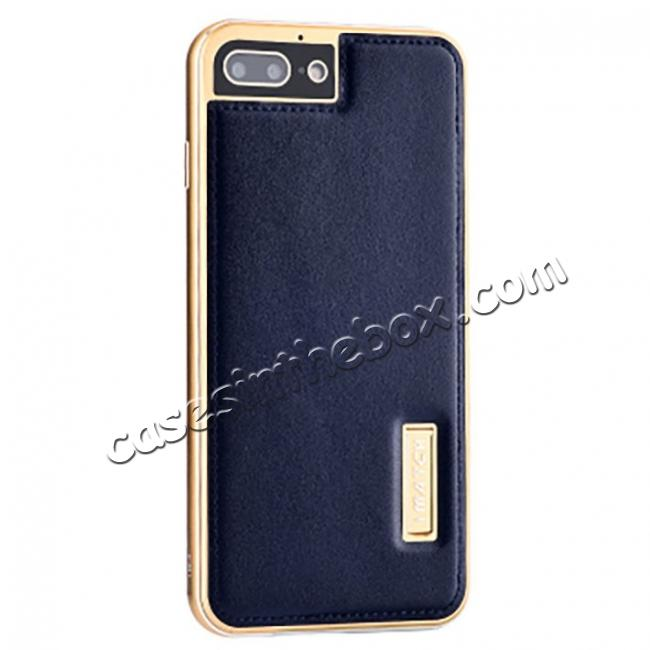 wholesale Aluminum Metal Bumper Frame+Genuine Leather Case Stand Cover For iPhone 8 4.7 inch - Gold&Dark Blue