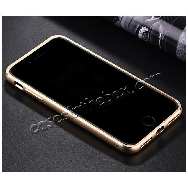 low price Aluminum Metal Bumper Frame+Genuine Leather Case Stand Cover For iPhone 8 4.7 inch - Gold&Dark Blue