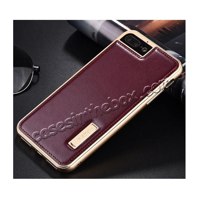 discount Aluminum Metal Bumper Frame+Genuine Leather Case Stand Cover For iPhone 8 4.7 inch - Gold&Wine Red