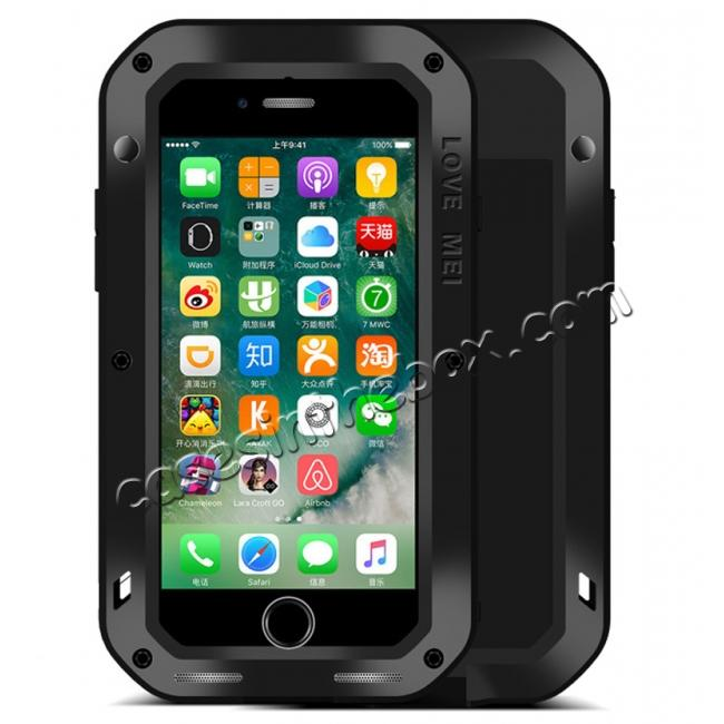 wholesale Aluminum Metal Gorilla Glass Shockproof Case for Apple iPhone 8 - Black