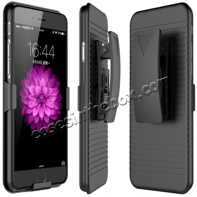 wholesale Belt Clip Holster Combo Defender Protective Cover Case for Apple iPhone 8 - Black