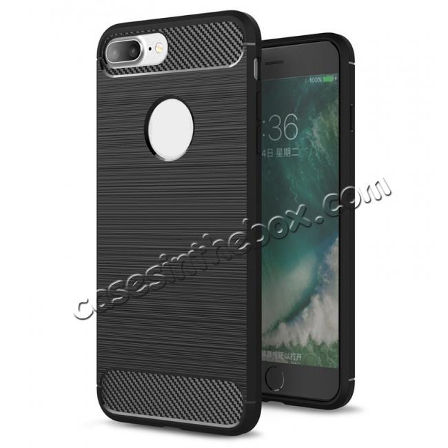 wholesale Brushed Metal Texture Soft TPU Silicone Carbon Fiber Protective Cover for iPhone 8 Plus - Black