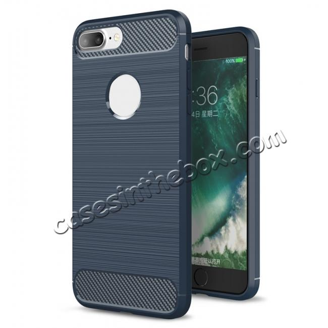 wholesale Brushed Metal Texture Soft TPU Silicone Carbon Fiber Protective Cover for iPhone 8 Plus - Navy Blue
