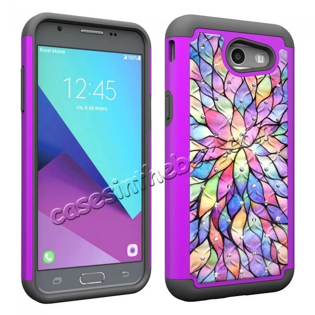 top quality Case For Samsung Galaxy J3 Emerge Cover Hard Rubber Hybrid Diamond Bling Phone Skin - Bauhinia Flower