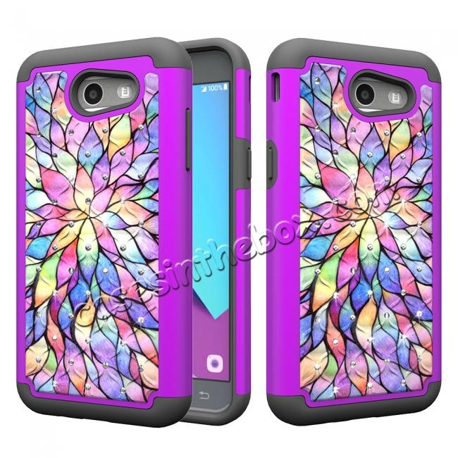 wholesale Case For Samsung Galaxy J3 Emerge Cover Hard Rubber Hybrid Diamond Bling Phone Skin - Bauhinia Flower