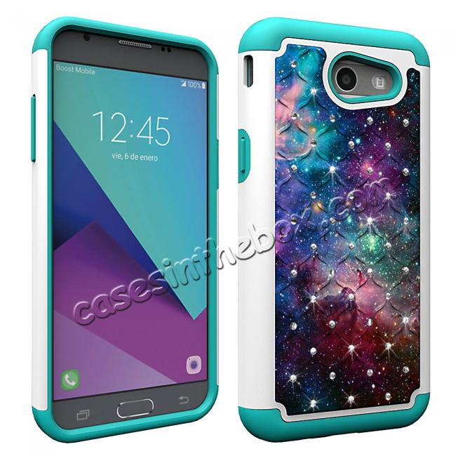 cheap Case For Samsung Galaxy J3 Emerge Cover Hard Rubber Hybrid Diamond Bling Phone Skin - Nebula
