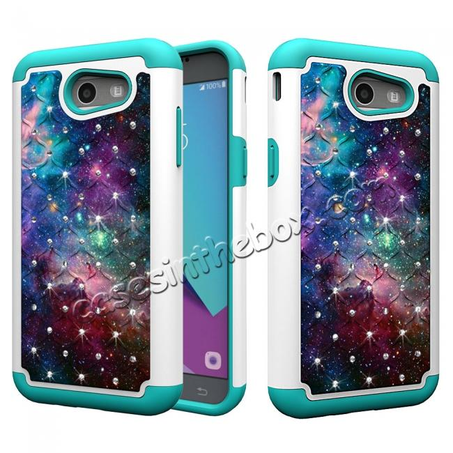 wholesale Case For Samsung Galaxy J3 Emerge Cover Hard Rubber Hybrid Diamond Bling Phone Skin - Nebula