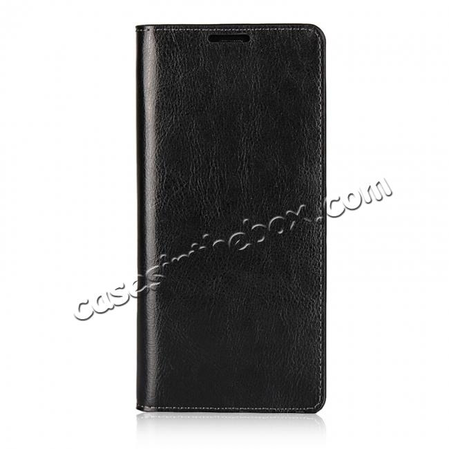 discount Crazy Horse Genuine Leather Flip Wallet Stand Case for Samsung Galaxy Note 8 - Black