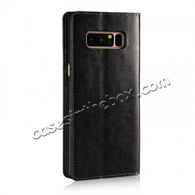 cheap Crazy Horse Genuine Leather Flip Wallet Stand Case for Samsung Galaxy Note 8 - Black