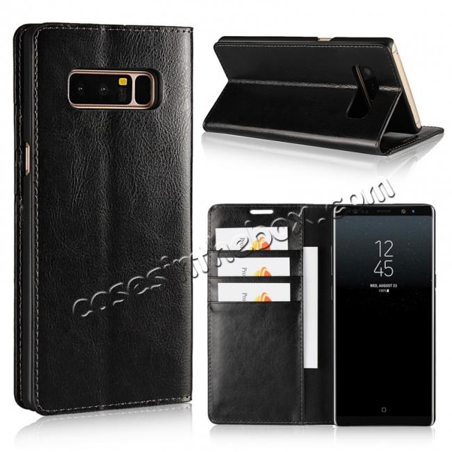 wholesale Crazy Horse Genuine Leather Flip Wallet Stand Case for Samsung Galaxy Note 8 - Black