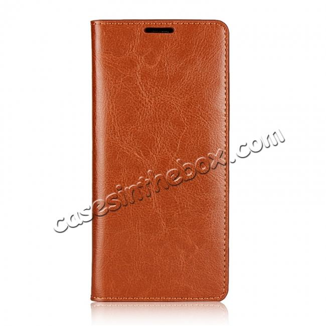 discount Crazy Horse Genuine Leather Flip Wallet Stand Case for Samsung Galaxy Note 8 - Brown