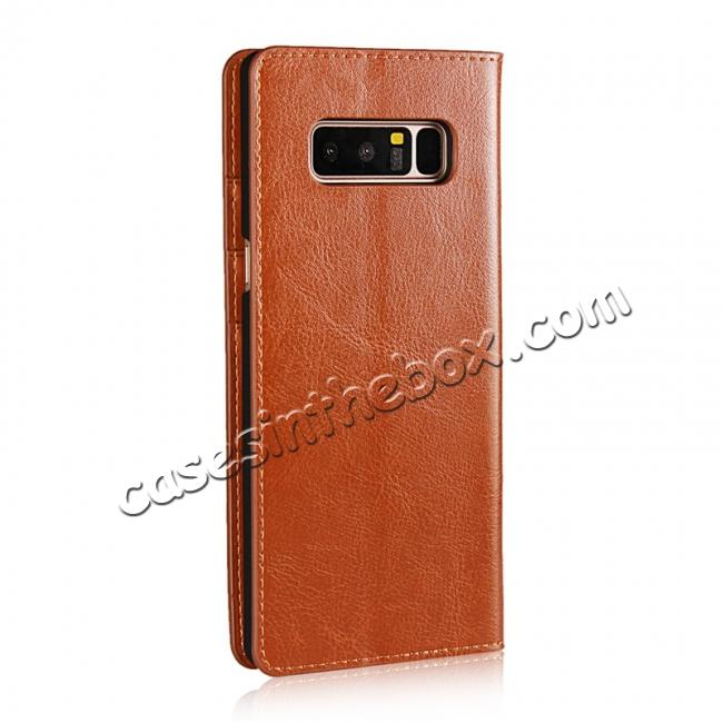 cheap Crazy Horse Genuine Leather Flip Wallet Stand Case for Samsung Galaxy Note 8 - Brown