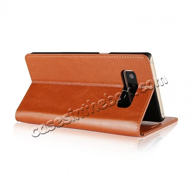top quality Crazy Horse Genuine Leather Flip Wallet Stand Case for Samsung Galaxy Note 8 - Brown