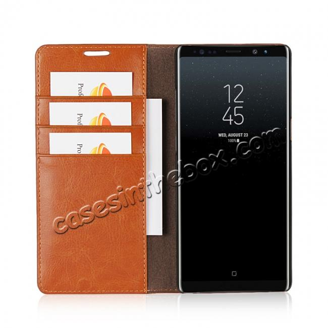 best price Crazy Horse Genuine Leather Flip Wallet Stand Case for Samsung Galaxy Note 8 - Brown
