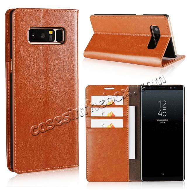 wholesale Crazy Horse Genuine Leather Flip Wallet Stand Case for Samsung Galaxy Note 8 - Brown