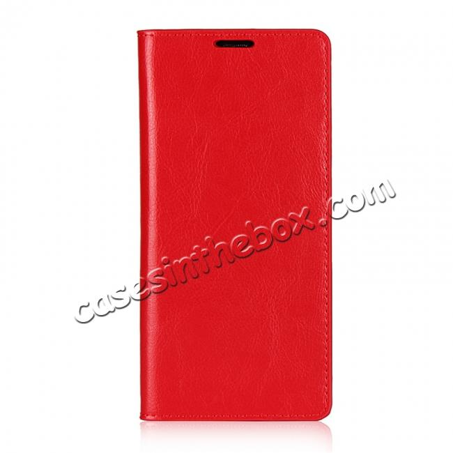 discount Crazy Horse Genuine Leather Flip Wallet Stand Case for Samsung Galaxy Note 8 - Red