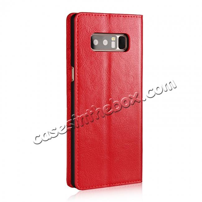 cheap Crazy Horse Genuine Leather Flip Wallet Stand Case for Samsung Galaxy Note 8 - Red